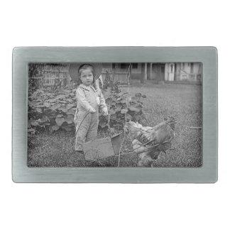 1880's Adorable Girl and Rooster Cart in Garden Rectangular Belt Buckle