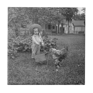 1880's Adorable Girl and Rooster Cart in Garden Tile