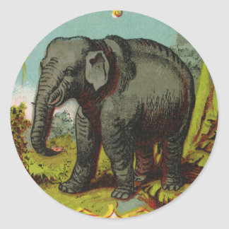 1880s Antique Elephant Round Sticker