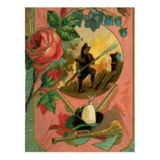 1880's Fireman Firefighter Artwork 2 Fire Postcard