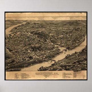 1881 Sherbrooke, Quebec Bird's Eye Panoramic Map Poster