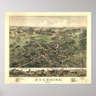 1882 Cheshire CT Birds Eye View Panoramic Map Poster