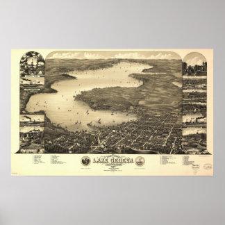 1882 Lake Geneva, WI Birds Eye View Panoramic Map Poster