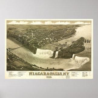 1882 Niagara Falls Birds Eye View Panoramic Map Poster