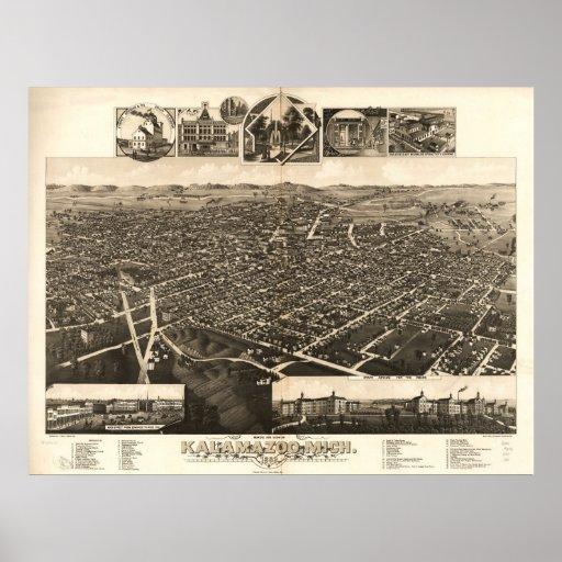 1883 Kalamazoo, MI Birds Eye View Panoramic Map Poster