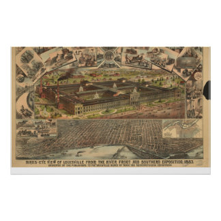 1883 Louisville, KY Birds Eye View Panoramic Map Poster