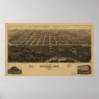 1883 Mandan, ND Birds Eye View Panoramic Map Poster