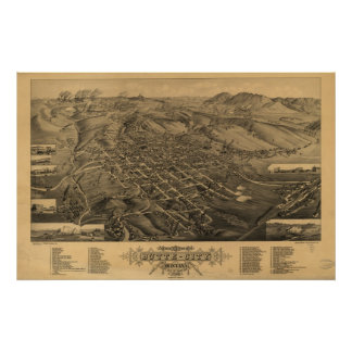 1884 Butte, MT Birds Eye View Panoramic Map Poster