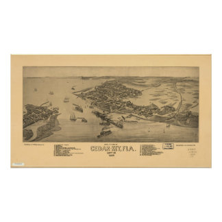 1884 Cedar Key FL Birds Eye View Panoramic Map Poster