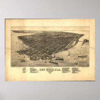 1884 Key West, FL Birds Eye View Panoramic Map Poster