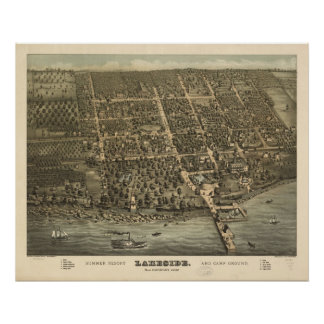 1884 Lakeside, OH Birds Eye View Panoramic Map Poster