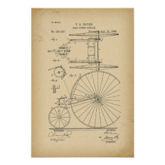 1884 Patent Bicycle Poster