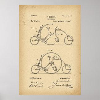 1884 Patent Bicycle Tandem Poster