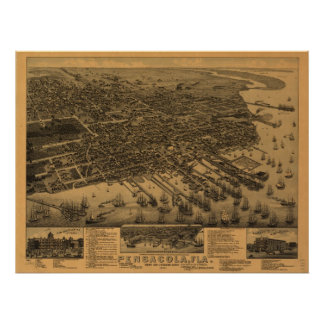 1885 Pensacola, FL Birds Eye View Panoramic Map Poster