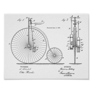 1885 Vintage High Wheeler Bicycle Patent Art Print