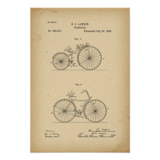 1886 Patent Bicycle Poster