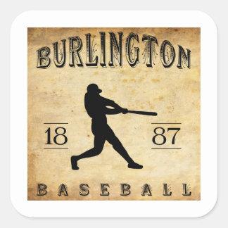 1887 Burlington Vermont Baseball Square Sticker