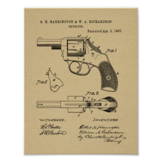 1887 Gun Revolver Patent Art Drawing Print