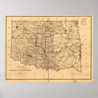 1887 Indian Territory Map Oklahoma Territory Poster