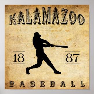 1887 Kalamazoo Michigan Baseball Poster