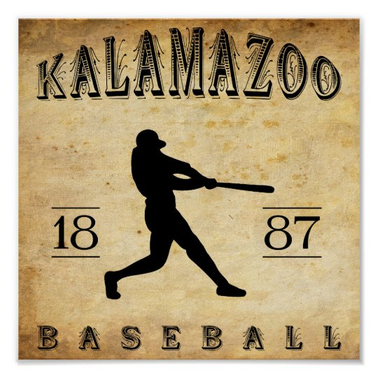 1887 Kalamazoo Michigan Baseball Poster