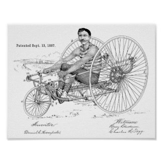 1887 Vintage Bicycle Tricycle Patent Art Print