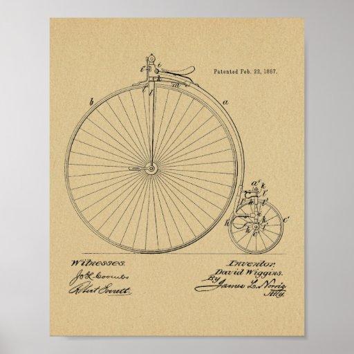 1887 Vintage High Wheeler Bicycle Patent Art Print