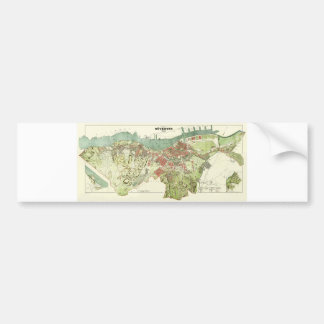 1888 Map of Gothenburg Sweden by Ludvig Simon Bumper Sticker
