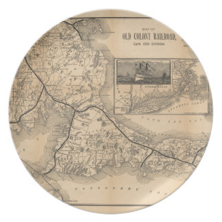 1888_Old_Colony_Railroad_Cape_Cod_map Dinner Plate