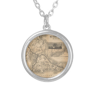 1888_Old_Colony_Railroad_Cape_Cod_map Silver Plated Necklace