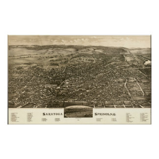 1888 Saratoga Springs, NY Birds Eye Panoramic Map Poster