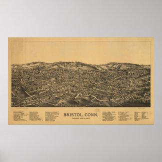 1889 Bristol CT Birds Eye View Panoramic Map Print