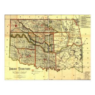 1889 Indian Territory Map Postcard