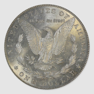 1889 Morgan Silver Dollar Tail Classic Round Sticker