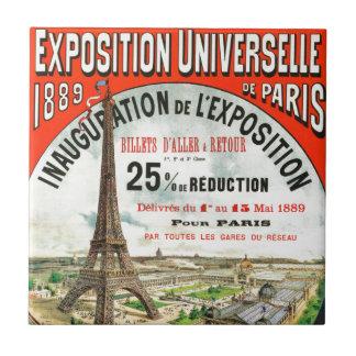 1889 Paris world Fair Eiffel Tower Vintage poster Tile
