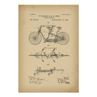 1889 Patent tandem Bicycle Poster