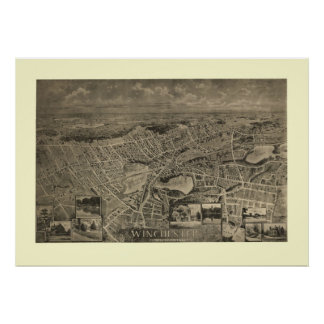1889 Winchester, MA Birds Eye View Panoramic Map Poster