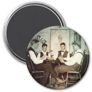 1890 Poker Game Men Gambling Cards Man Cave Photo 3 Inch Round Magnet