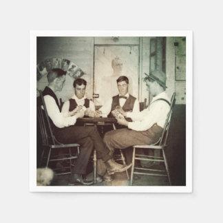 1890 Poker Game Men Gambling Cards Man Cave Photo Napkin