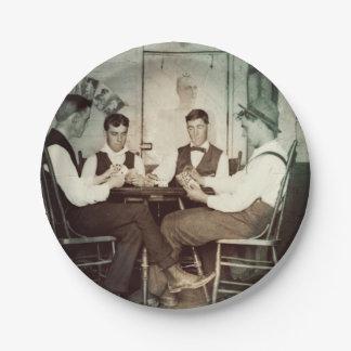 1890 Poker Game Men Gambling Cards Man Cave Photo Paper Plate