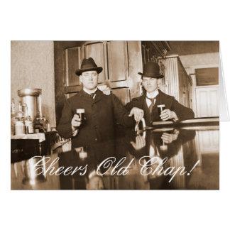 1890 Saloon Bar Men Cheers Old Chap Happy Birthday Card