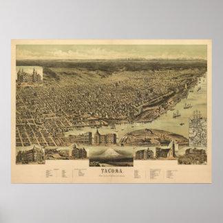 1890 Tacoma, WA Birds Eye View Panoramic Map Poster
