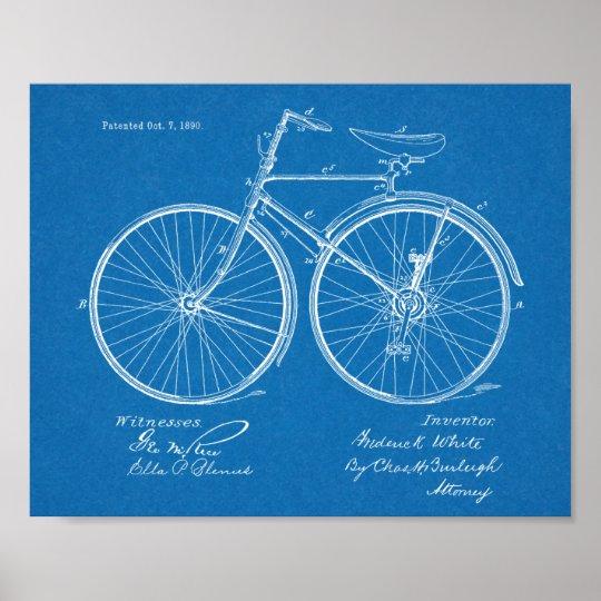 1890 Vintage Bicycle Design Patent Art Print