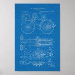 1890 Vintage Bicycle Lever Design Patent Art Print