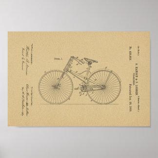 1890 Vintage Bicycle Velocipede Patent Art Print