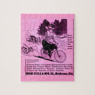 1890s bicycle ad The Racycle Jigsaw Puzzle