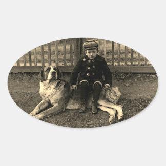 1890's Boy Sitting on St Bernard Dog Photograph Oval Sticker