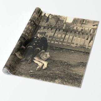 1890's Boy Sitting on St Bernard Dog Photograph Wrapping Paper