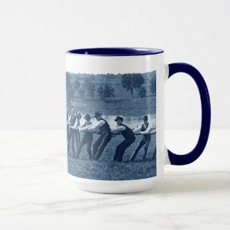 1890's Men Man Tug-O-War Tug of War Photo Blue Mug