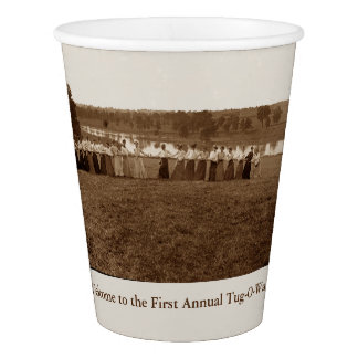 1890's Men Women Tug of War Tug-O-War Photograph Paper Cup